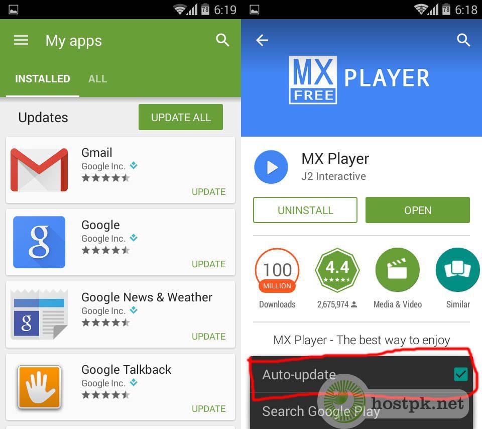 turn off app update individual google play